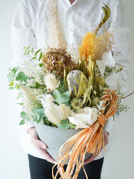 バンクシアと紫陽花のドライフラワーアレンジ L