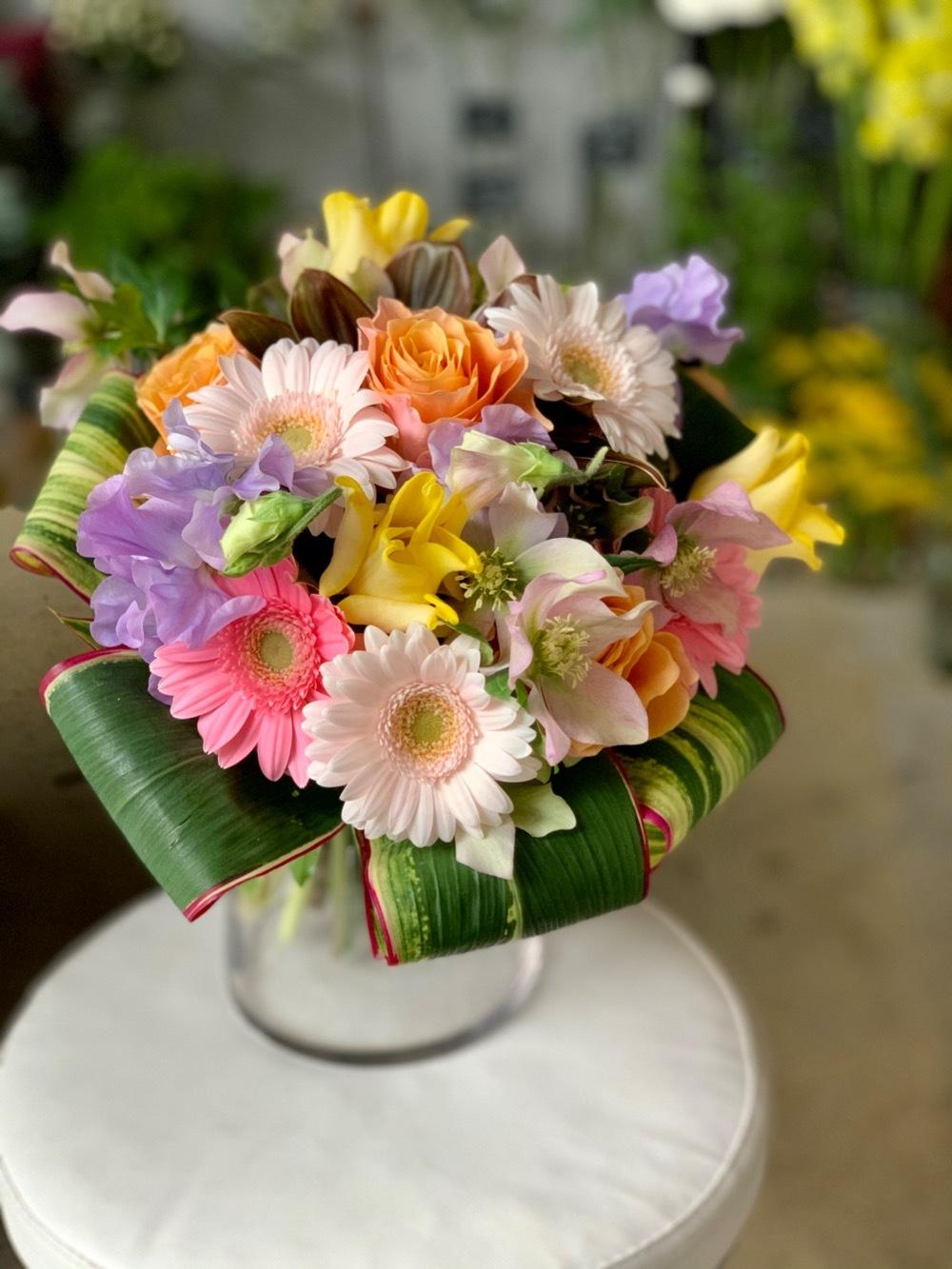 春のパステルカラーが可愛い祝い花