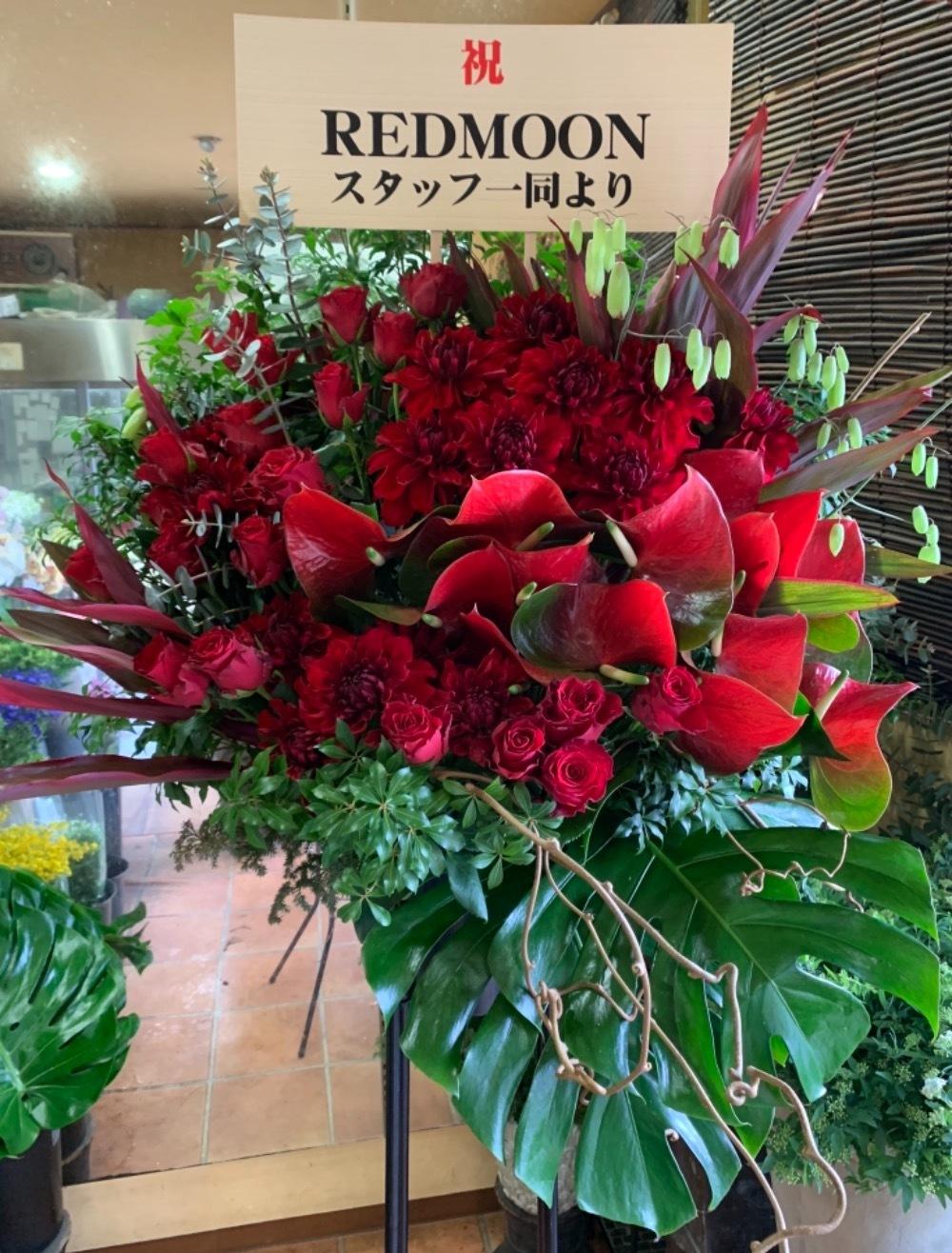 セレクトショップ移転祝いのインパクトあふれる赤のスタンド花