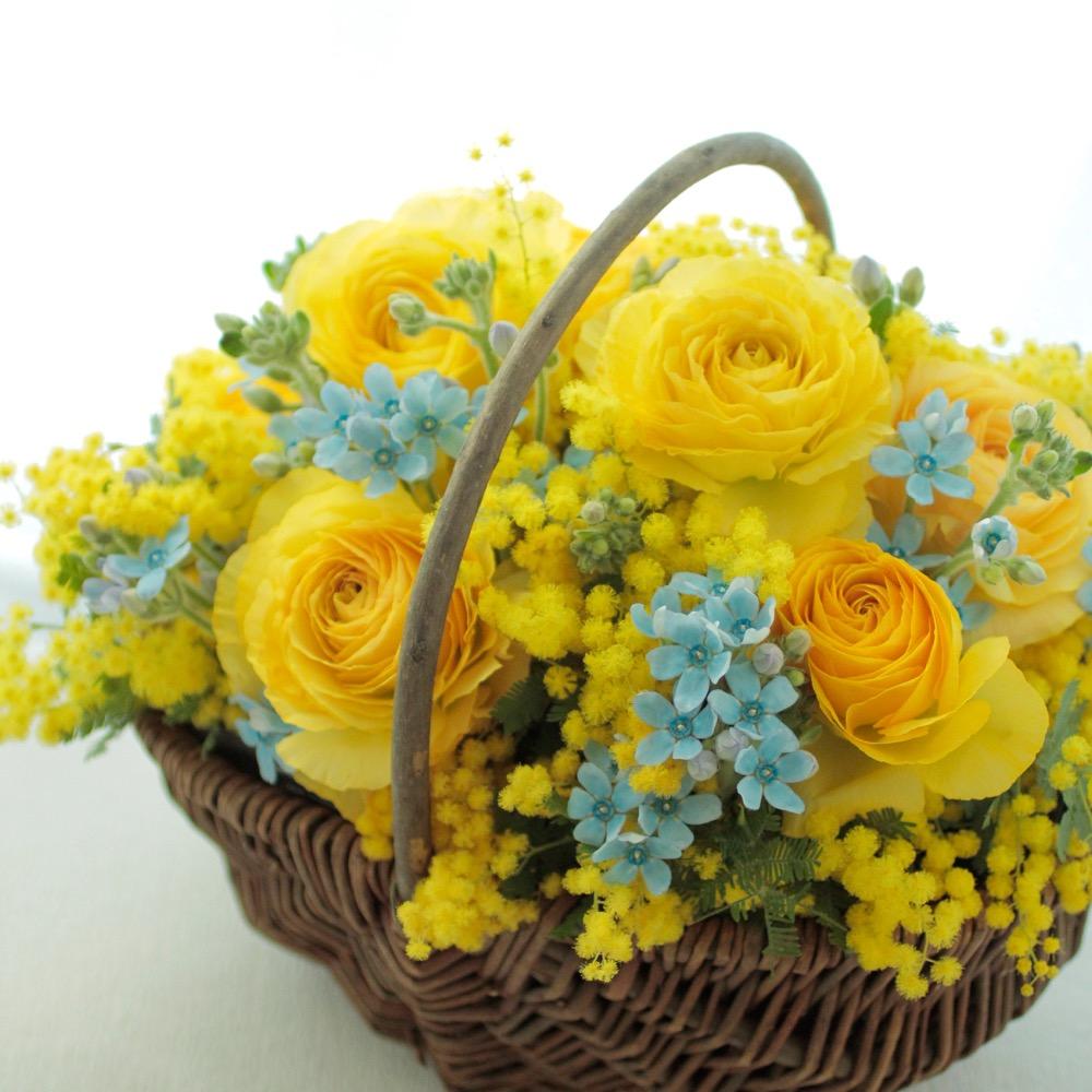 コーポレートカラーの黄色と青で作られたミモザの祝い花