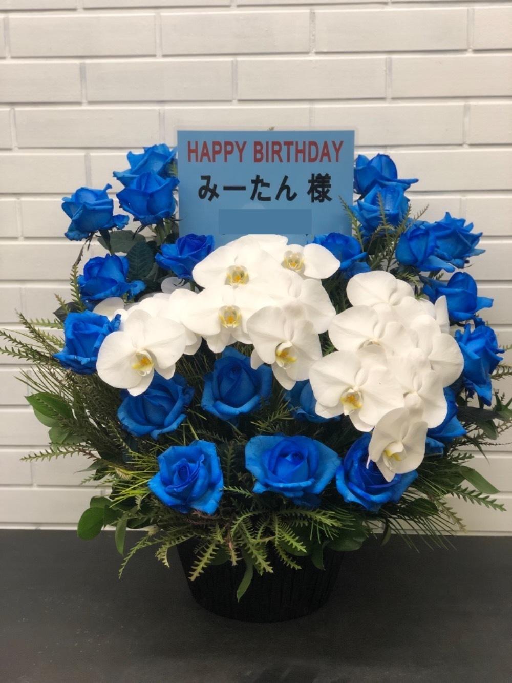 胡蝶蘭と青バラのコントラストが美しい祝い花