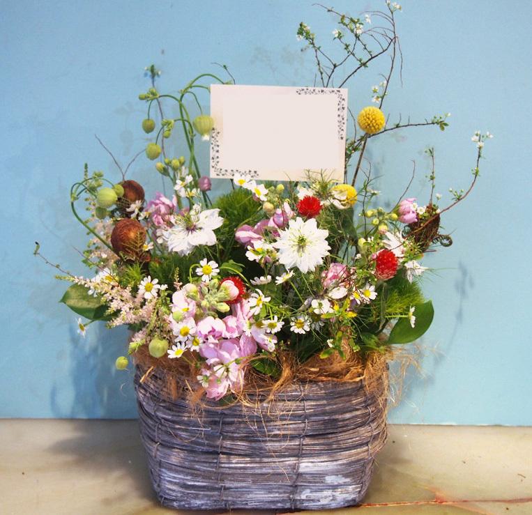 ナチュラルな雰囲気の開店祝い花