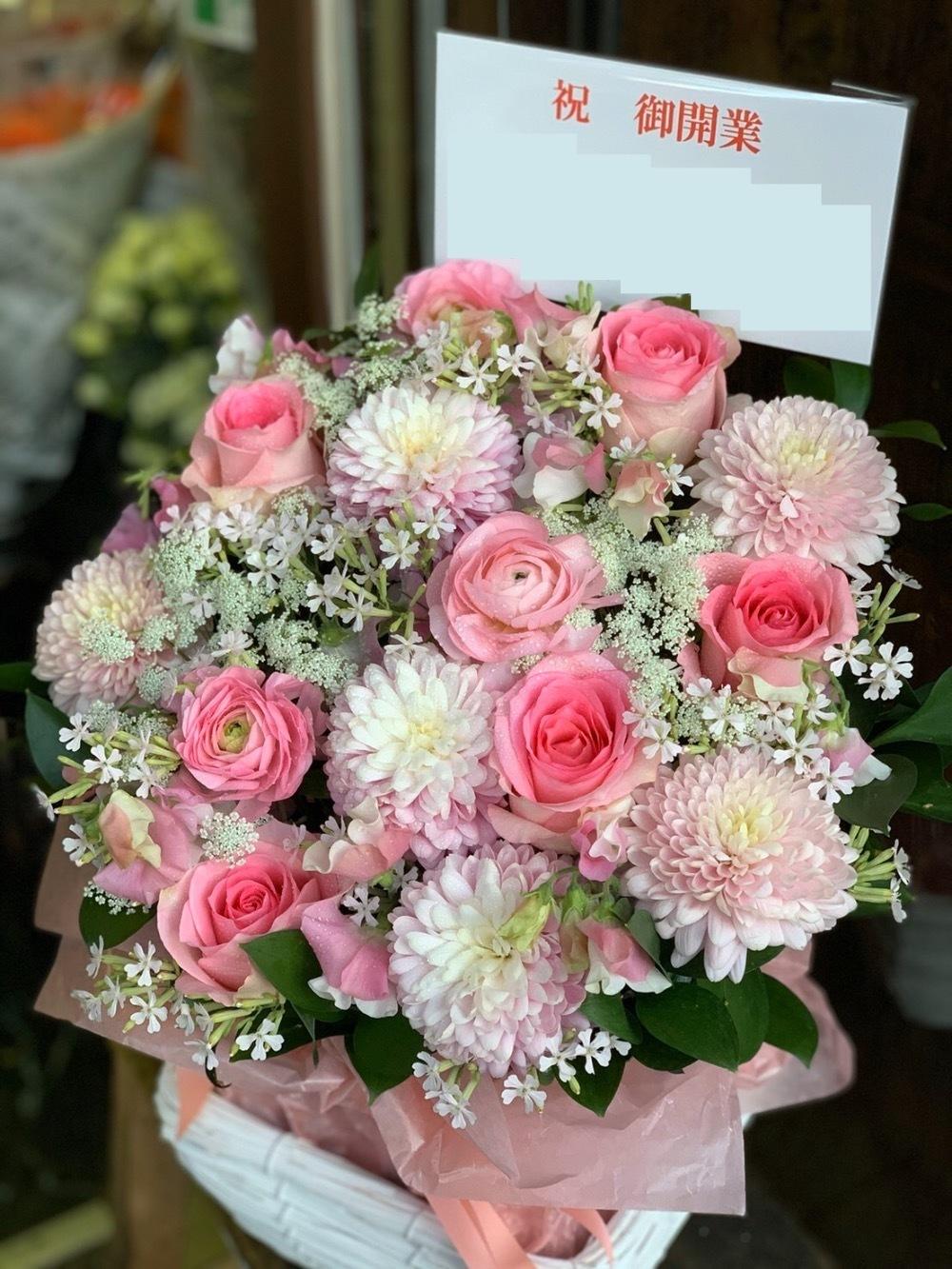 淡いピンクが美しい開業祝い花