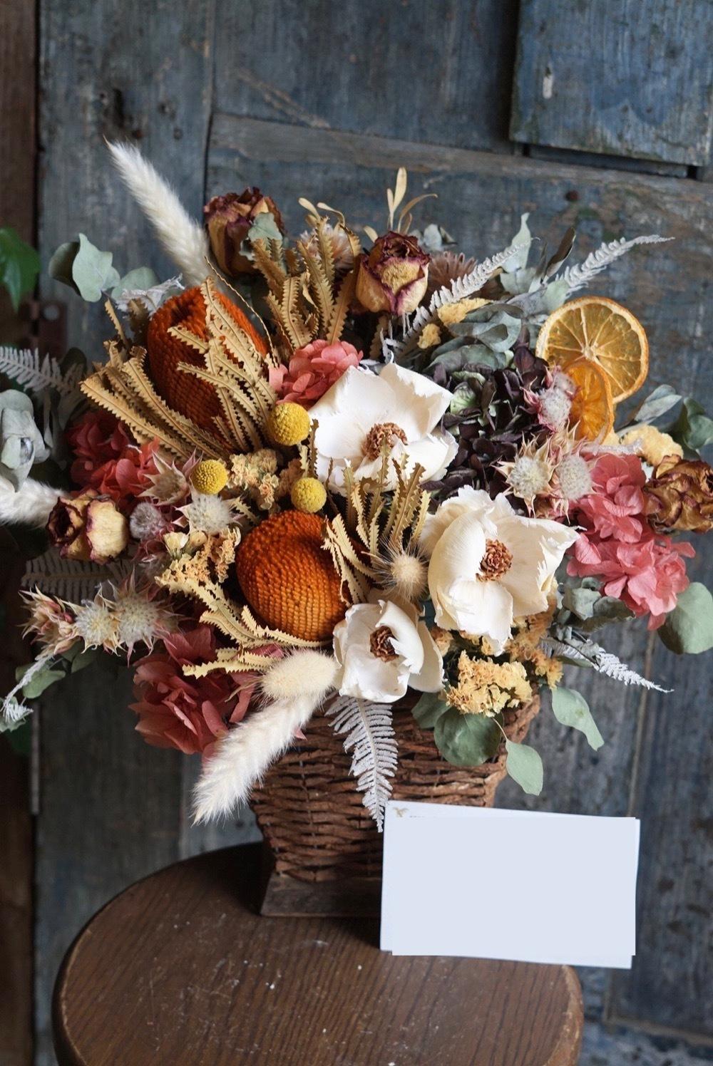 「おめでとうの想いを込めて」門出を祝うドライフラワーの開店祝い花