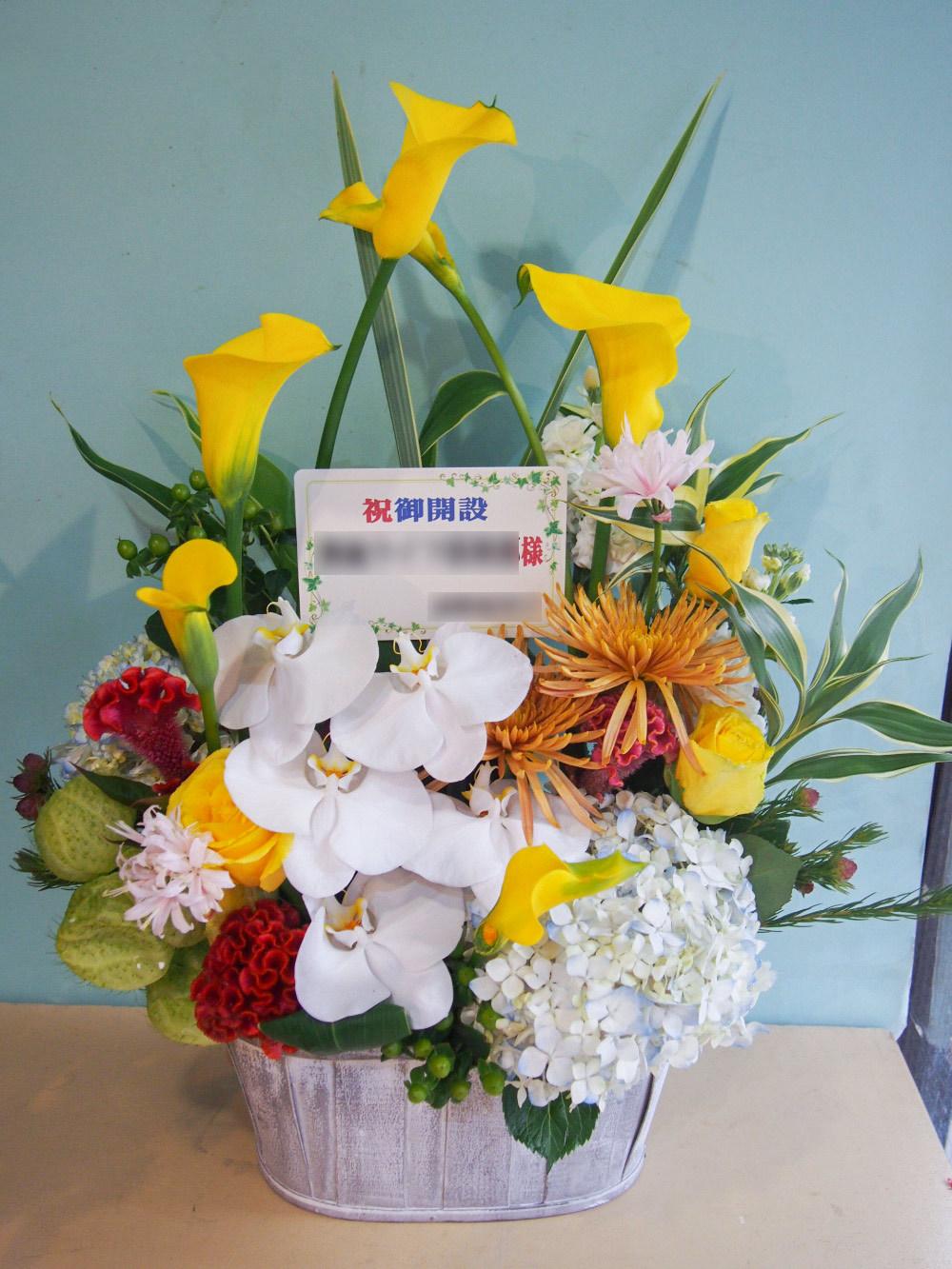 事務所の新規開設に 胡蝶蘭のフォーマルさと力強さを表現した竣工祝い花