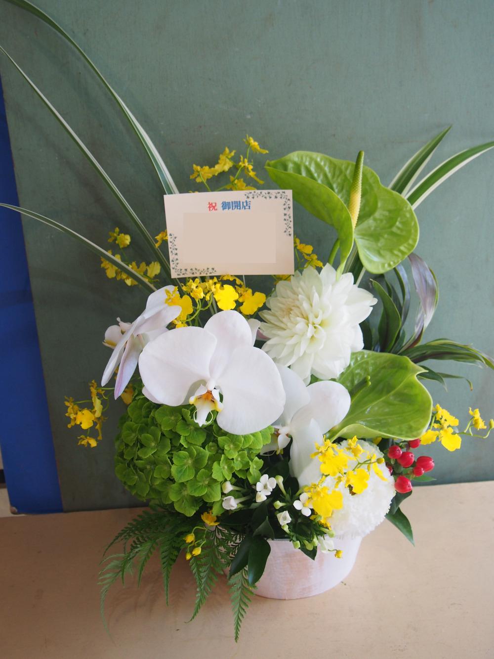 「明日へ向けて輝くイメージ」白をベースとした開店お祝い花
