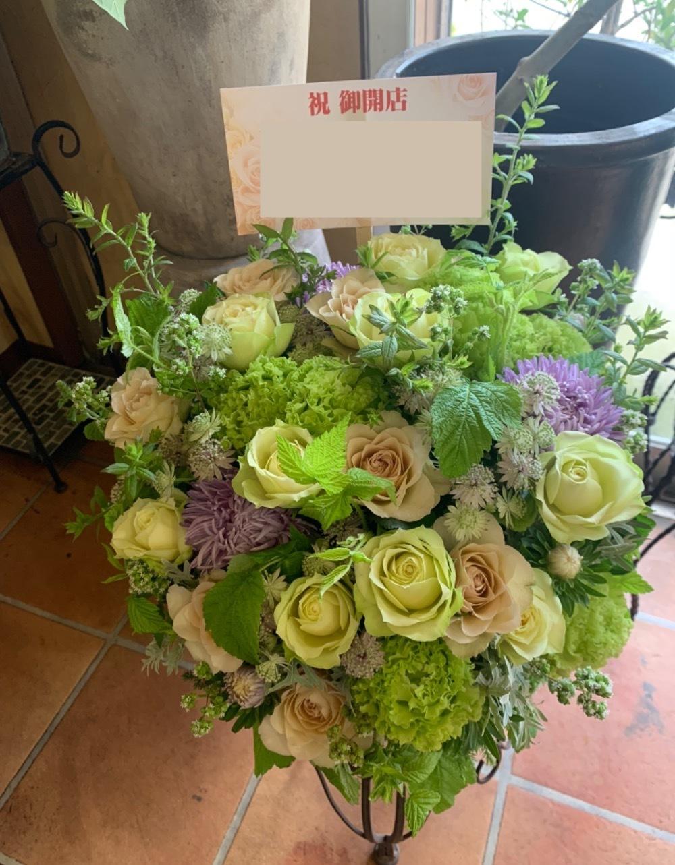 「いつも応援してる気持ちを届けたい」お届け先さまのイメージカラーでおまとめした開店祝い花