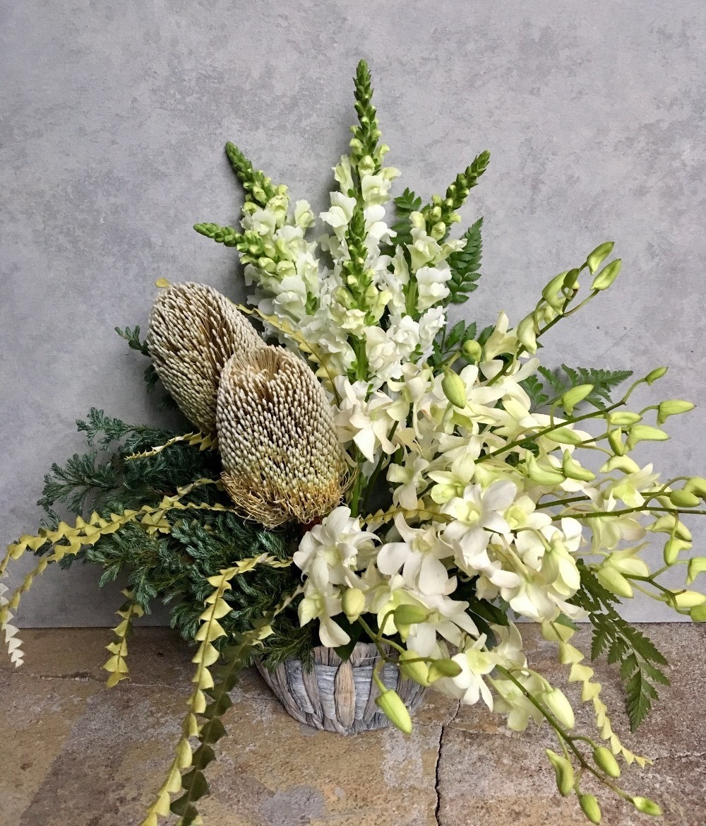 上品な雰囲気のデザイン会社さまに送られた20周年記念の祝い花