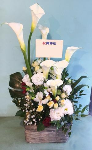 ご移転祝いの上品で上に伸びる祝い花