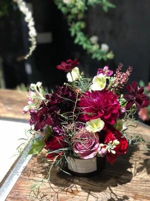 ボルドーのスカビオサが大人な雰囲気のご開店祝い花