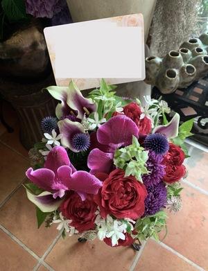大きな花々が印象的なお祝いアレンジメント