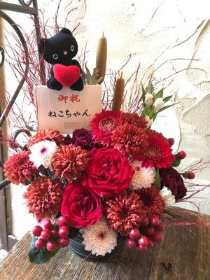 動物病院の開院祝いにも 看板猫をご一緒したお祝い花