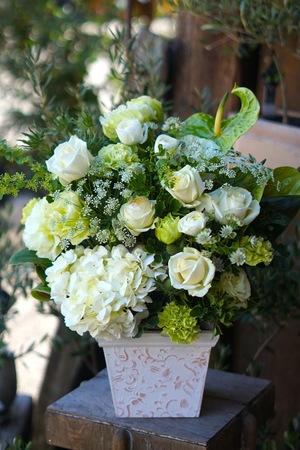 白磁粘土陶芸作品の個展お届けした白とグリーンの個展祝い花