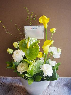 カフェの開店祝いに アンスリウムとカラーが上品な開店祝い花