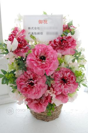 華やかながら芯のある女性をイメージした アパレルショップ様開店祝い花