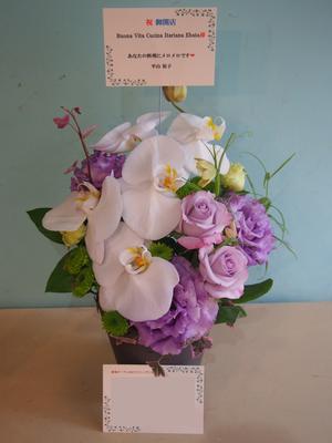 十数年通っていたイタリアンのお店の新規オープンをお祝いする白を基調とした上品な色合いの開店祝い花