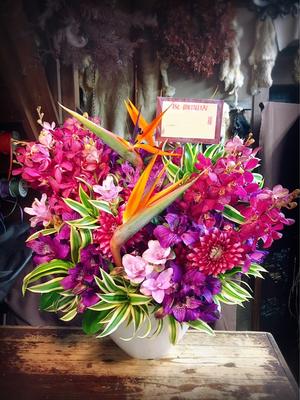 タイマッサージ店様のロゴカラーに合わせた紫色がメインの開店お祝い花