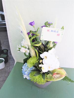和風な飲食店様へのシックな雰囲気の開店お祝い花