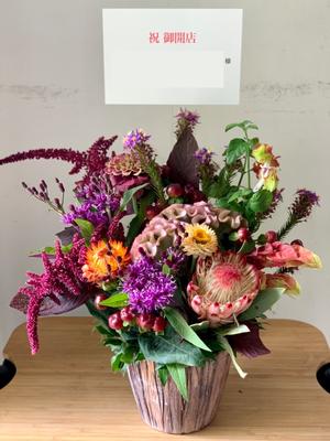 ウッド調でナチュラルなうどん屋様への開店お祝い花