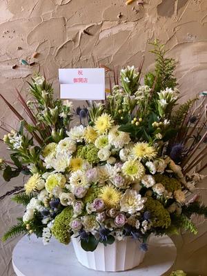 お店の雰囲気に合わせておつくりした開店お祝い花