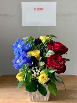 南アフリカワインの専門店様へ 南アフリカの国旗カラーの開店お祝い花